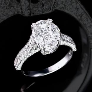 隱密式鑲嵌鑽石,戒指/>