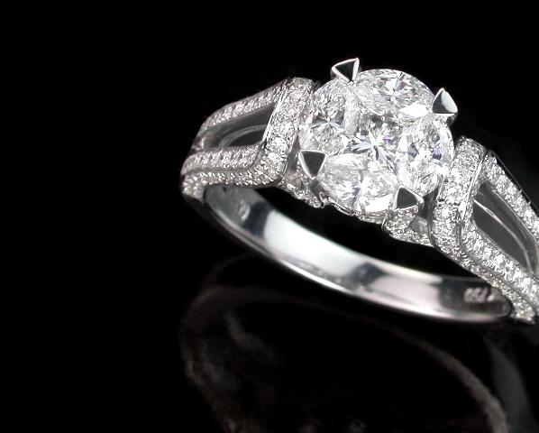 隱密式鑲嵌鑽石,戒指